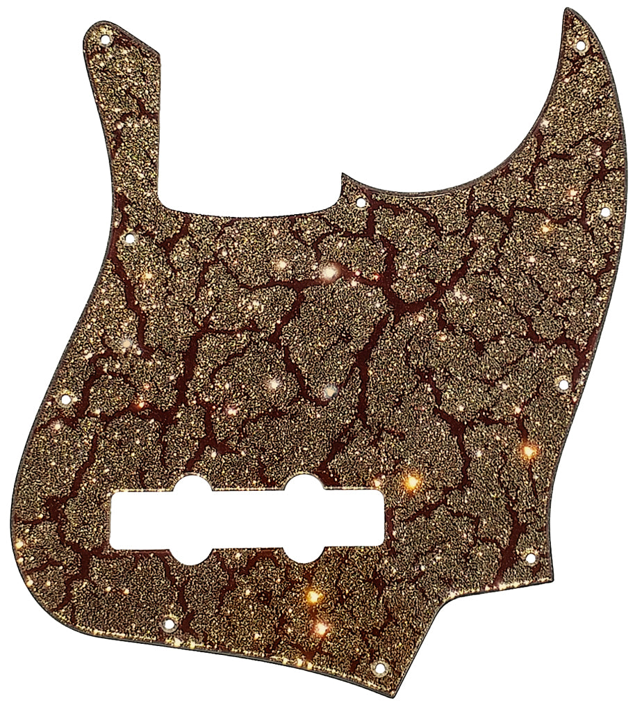 Fender Jazz Bass Pickguard Brown Crackle Gold Sparkle
