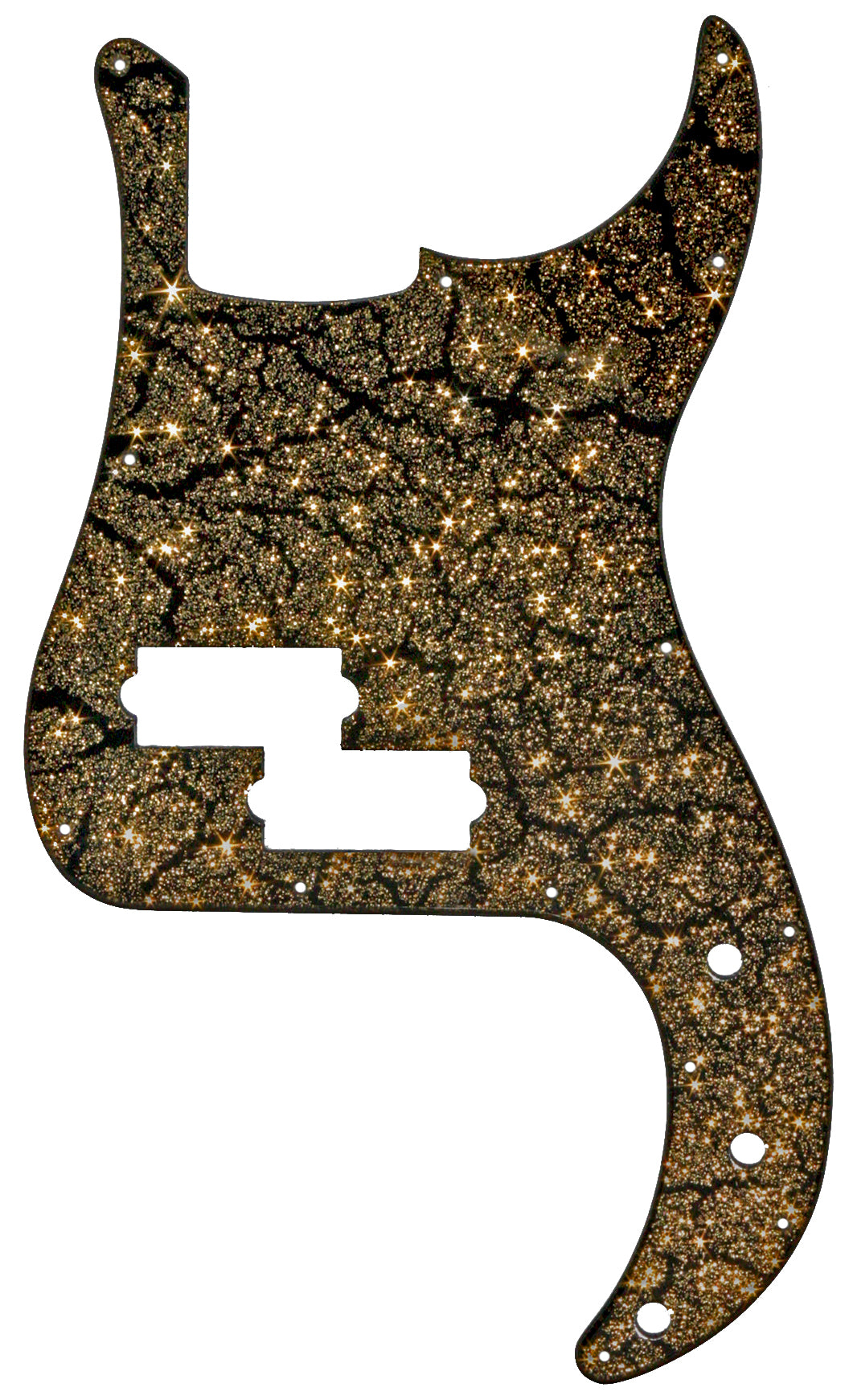 Fender Precision Bass Pickguard Black Crackle Gold Sparkle