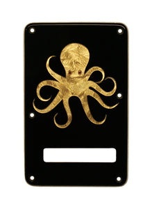 Fender Stratocaster Backplate Black with Gold Florentine Octopus Inlay