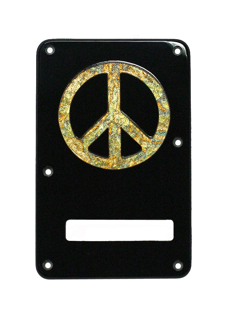 Fender Stratocaster Backplate Black with Variegated Gold Peace Inlay