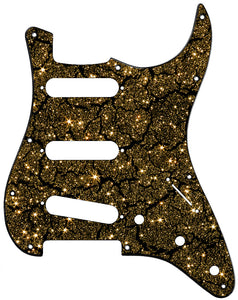 Fender Stratocaster Black Crackle Gold Sparkle Pickguard