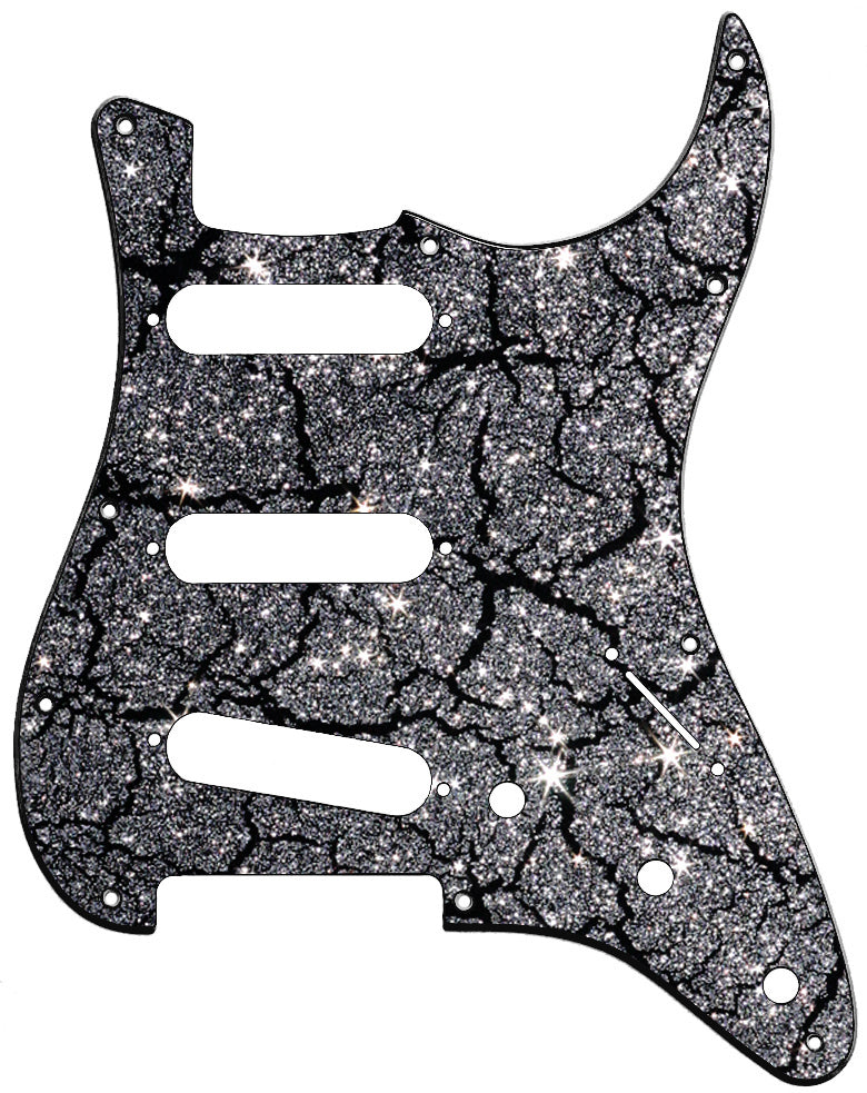 Fender Stratocaster Black Crackle Silver Sparkle Pickguard