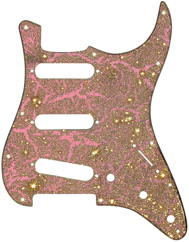 Fender Stratocaster Pink Crackle Gold Sparkle Pickguard