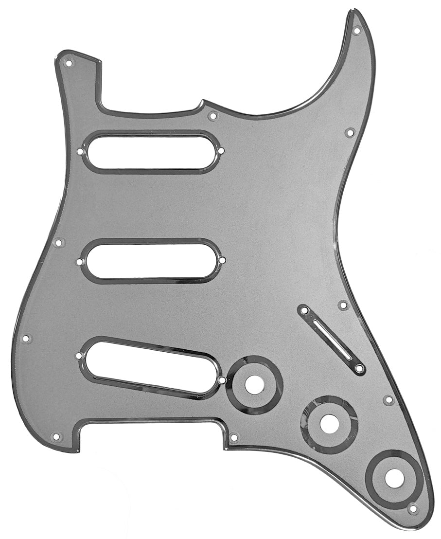 Fender Stratocaster Pickguard Silver with Chrome Borders
