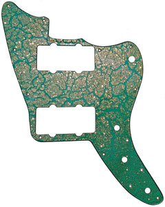 Warmoth Jazzmaster Pickguard Teal Crackle Gold Sparkle