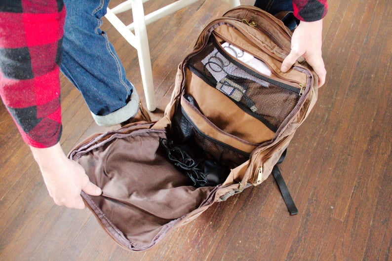 Brown Waxed Canvas Rucksack Laptop Backpack