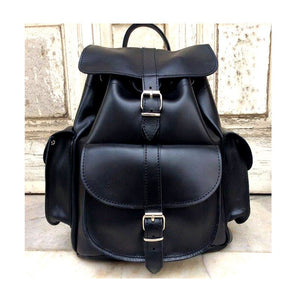 100% Full Grain Leather Black Laptop Backpack