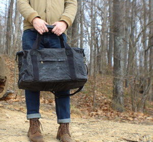 Brown Weekender Waxed Canvas Carry On Travel Duffel Bag