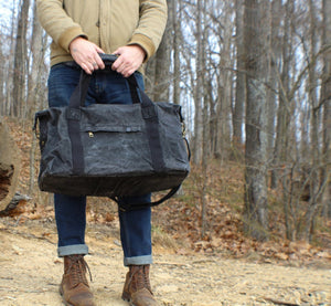 BLACK WEEKENDER WAXED CANVAS CARRY ON TRAVEL DUFFEL BAG