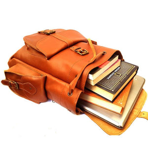 Full Grain Leather Tobacco Colored Backpack Purse