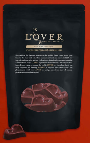 Lover Organic Chocolate Eco Refill Bags | Heart Pieces w/ Superfoods - Refill Your Tin - 5.5oz / 155g