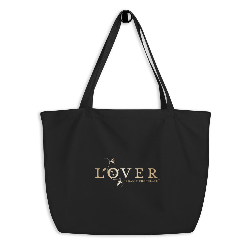 Lover Organic Eco Tote Bag (Black/Oyster) Go Large!