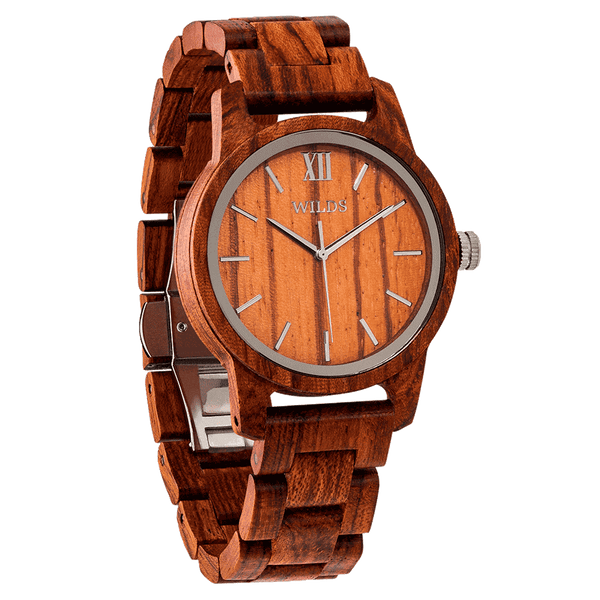 Men's Handmade Engraved Kosso Wooden Timepiece put Personal Message on the Watch