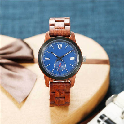 Handcrafted Engraved Wooden Watch - Kosso Wood - HighStreetPop