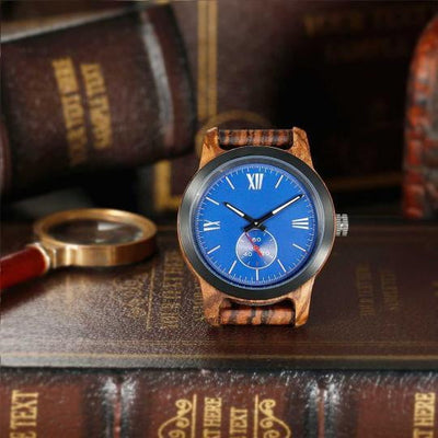 Handcrafted Engraved Wooden Watches - Zebra Ebony Wood Watch - HighStreetPop