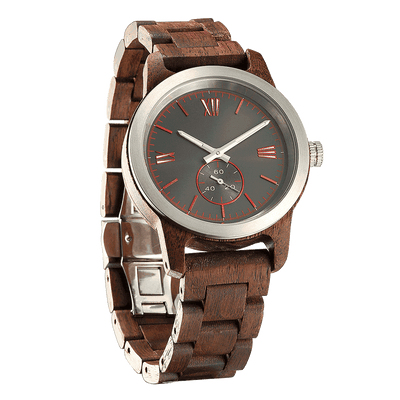 Handcrafted Engraved Wooden Watch - Walnut Wood - HighStreetPop