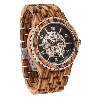 Men's Premium Self-Winding Transparent Body Zebra Wood Watches - HighStreetPop