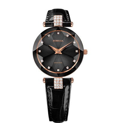 Facet Strass Swiss Ladies Black Leather Watch