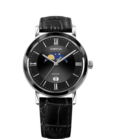Magno Swiss Men's Black LeatherWatch
