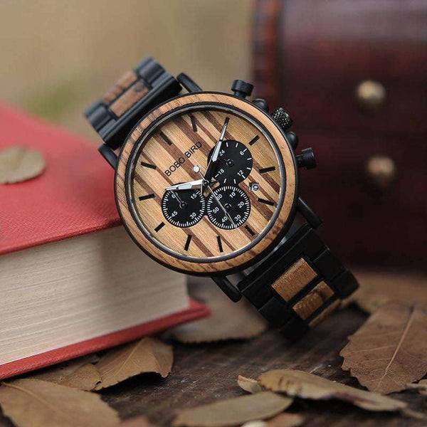 Unique Dial Stopwatch Bamboo Wooden Men Wrist Watch With Date