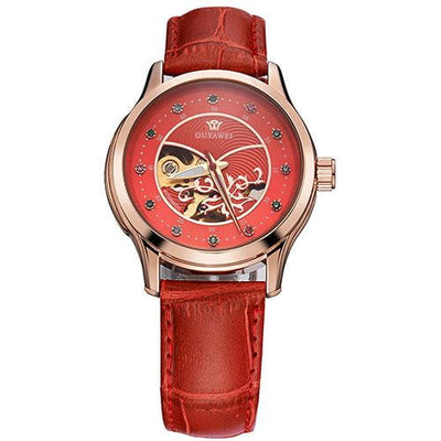 Leather Strap Diamond Dial Skeleton Automatic Watch for Women - HighStreetPop