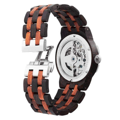 Dual Wheel Automatic Watch for Men -  Ebony & Rose wooden Watch - HighStreetPop