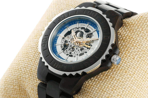 Men Genuine Automatic Watch - Ebony Wooden Watches No Battery Needed - HighStreetPop