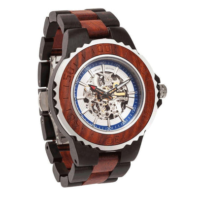 Men Genuine Automatic Watch - Rose Ebony Wooden Watches No Battery Needed - HighStreetPop