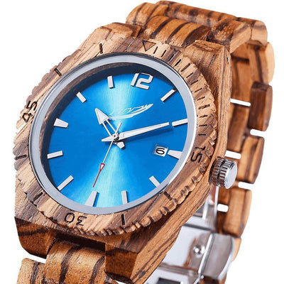 Personalized Engraved Wooden Watches - Zebrawood Free Custom Engraving - HighStreetPop