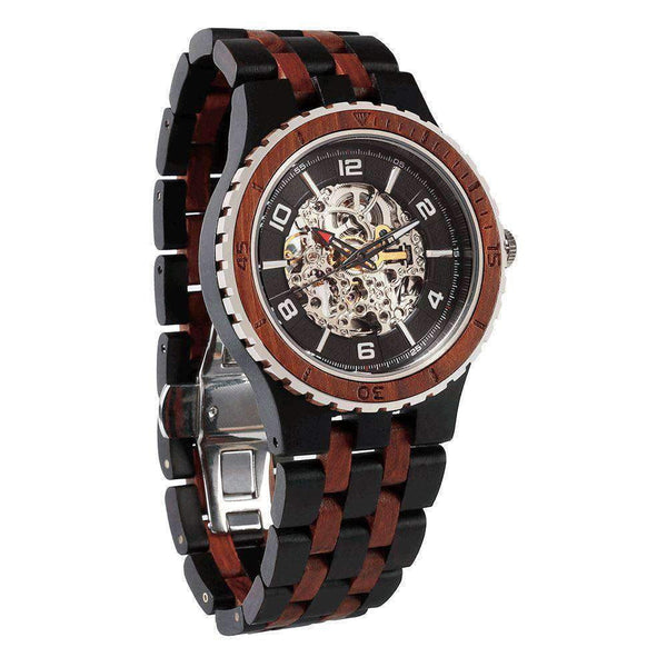 Premium Self-Winding Transparent Body Wooden Watches for Men - Ebony Rose - HighStreetPop