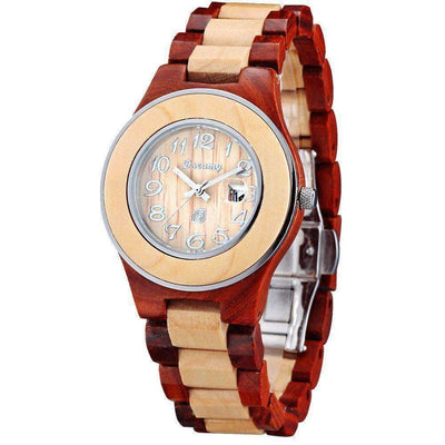 Women's Natural Maple & Rosewood  Wooden Watch - She Deserve It - HighStreetPop