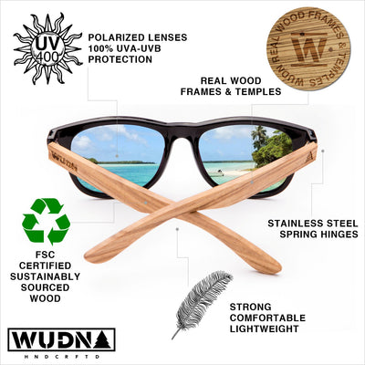 Wanderer Green Blue - Real Bamboo Wood Sunglasses