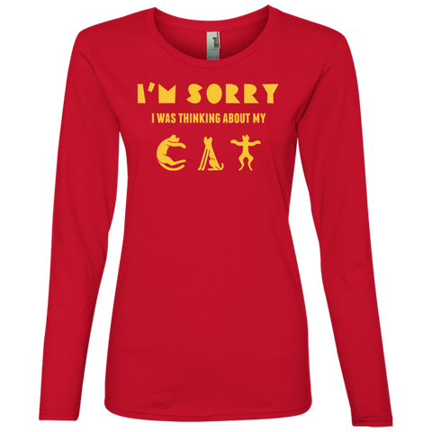 Womens Cat Shirt Ladies' Lightweight LS T-Shirt