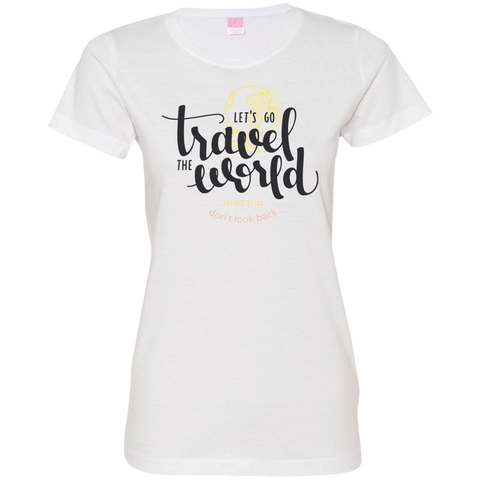 Let's Go Travel The World T-Shirt 3516 LAT Ladies' Fine Jersey T-Shirt