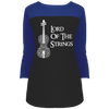 Image of Lord Of The Strings T-Shirt DT2700 District Juniors' Rally 3/4 Sleeve T-Shirt