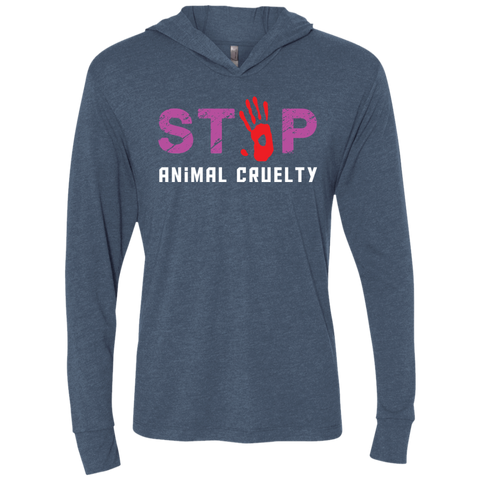 Stop Animal Cruelty NL6021 Next Level Unisex Triblend LS Hooded T-Shirt