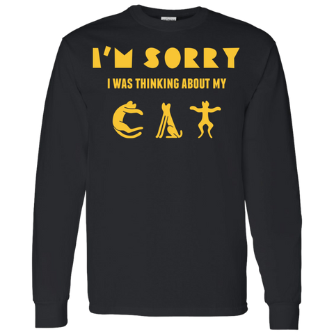 Funny Cat T Shirts For Men LS T-Shirt 5.3 oz.