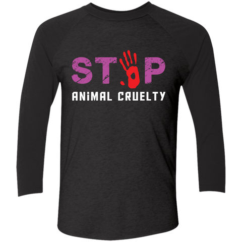 Stop Animal Cruelty NL6051 Next Level Tri-Blend 3/4 Sleeve Baseball Raglan T-Shirt