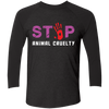 Image of Stop Animal Cruelty NL6051 Next Level Tri-Blend 3/4 Sleeve Baseball Raglan T-Shirt