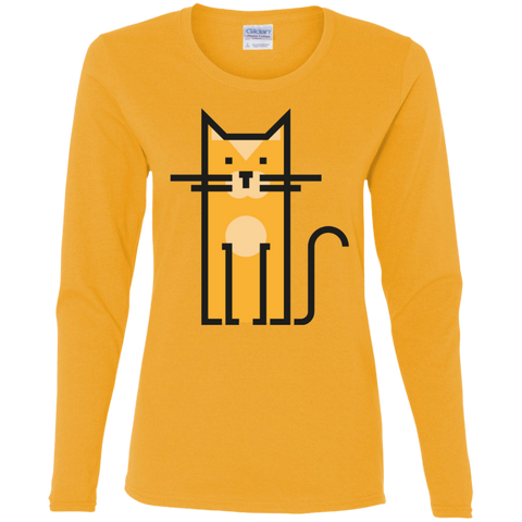 Cosmic Cat T Shirt G540L Gildan Ladies' Cotton LS T-Shirt