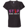Image of Stop Animal Cruelty B6005 Bella + Canvas Ladies' Jersey V-Neck T-Shirt