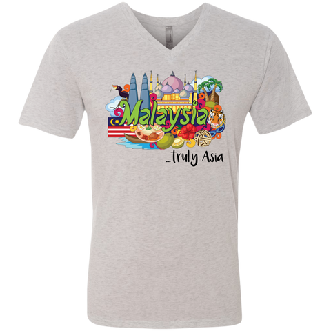 Malaysia Truly Asia T-Shirt NL6040 Next Level Men's Triblend V-Neck T-Shirt