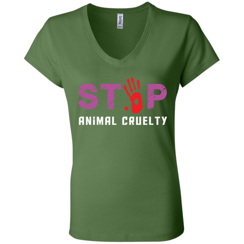 Stop Animal Cruelty B6005 Bella + Canvas Ladies' Jersey V-Neck T-Shirt