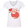 Image of Love Cat Shirt 88VL Anvil Ladies' V-Neck T-Shirt