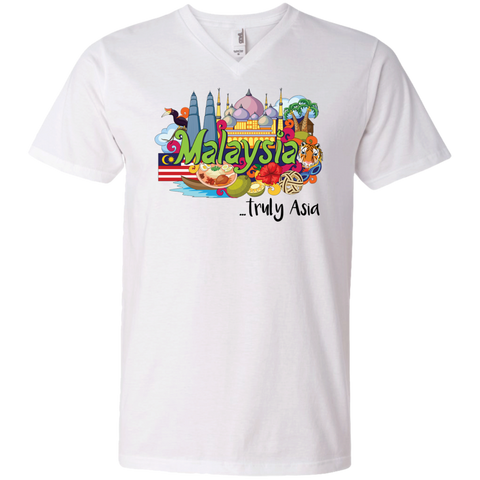 Malaysia Truly Asia T-Shirt 982 Anvil Men's Printed V-Neck T-Shirt