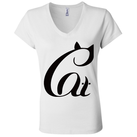 Black And White Cat Shirt B6005 Bella + Canvas Ladies' Jersey V-Neck T-Shirt