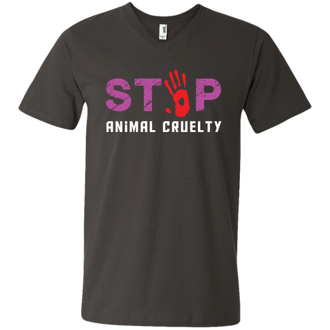 Stop Animal Cruelty 982 Anvil Men's Printed V-Neck T-Shirt
