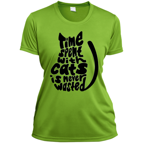 Time Spent With Cats Is Never Wasted 1790 Augusta Ladies' Wicking T-Shirt