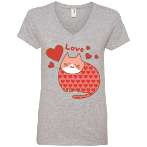 Love Cat Shirt 88VL Anvil Ladies' V-Neck T-Shirt