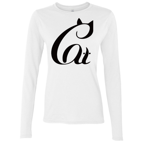 Black And White Cat Shirt G644L Gildan Ladies' Softstyle 4.5 oz. LS T-Shirt